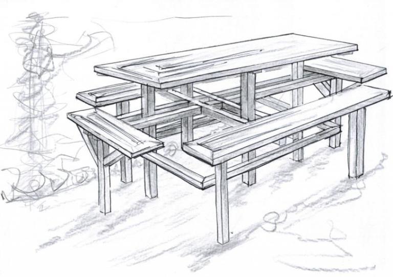 Hoge picknick tafel